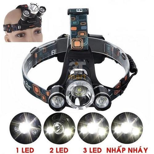 Đèn pin đội đầu siêu sáng - Đèn Pin Led Siêu Sáng Đội Đầu 3 Bóng ,tặng kèm pin và sạc