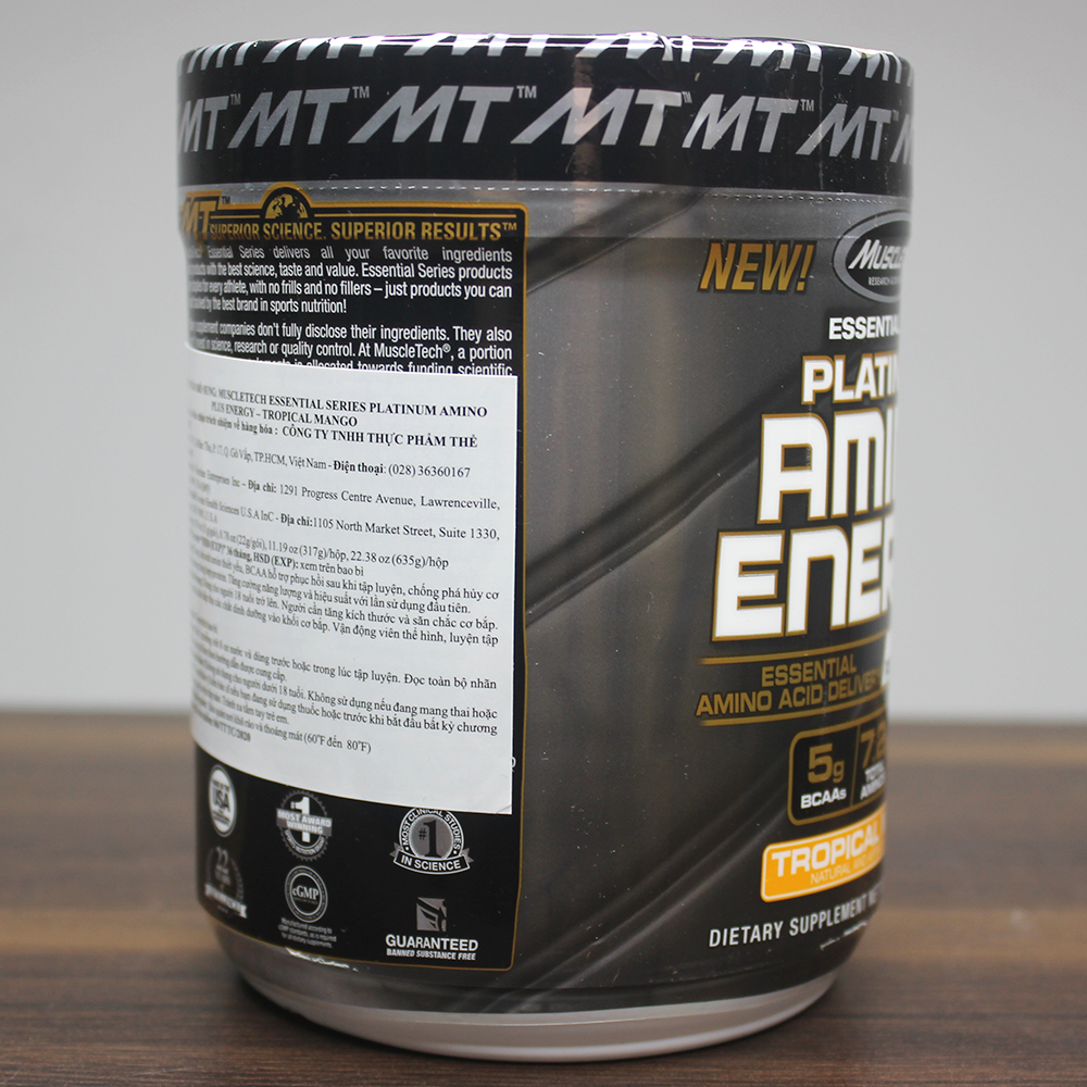 Combo BCAA Platinum Amino Plus Energy của Muscle Tech hương Tropical Mango (XOÀI) hộp 30 lần dùng hỗ trợ tăng sức bền, sức mạnh, đốt mỡ giảm cân mạnh mẽ, phục hồi cơ nhanh chóng cho người tập GYM và chơi thể thao thao & Bình lắc INOX 739ml (Mẫu ngẫu nhiên)