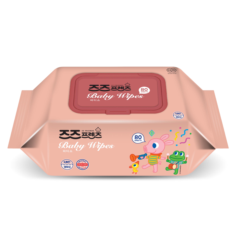 Khăn ướt trẻ em Hàn Quốc cao cấp ZZ Friends Party Show  80 tờ/gói
