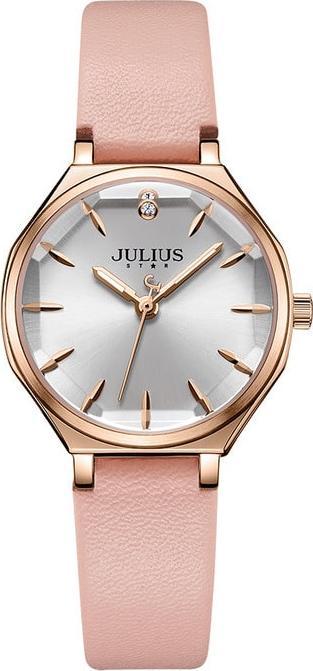 Đồng Hồ Nữ JS-008 Julius Star Hàn Quốc Dây Da - Hồng