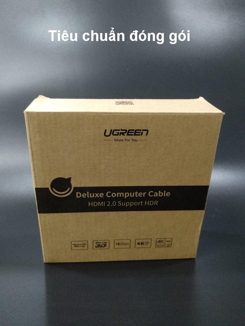 Cáp hdmi 2.0 mạ vàng hỗ trợ độ phân giải tối đa 4k/60Hz 4096x2160 hỗ trợ 3D dùng cho máy tính, máy chiếu, tivi, tivi box, PS3/4...... Dài 5m UGREEN HD118 50465 - Hàng chính hãng