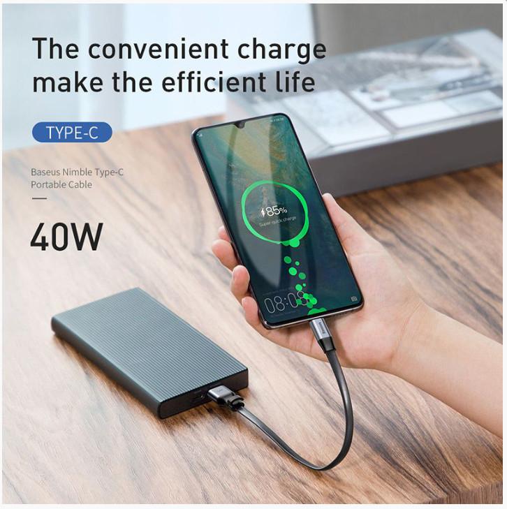 cáp sạc baseus type c 5a qc3.0 quick charge 3.0 dài 23cm - dây sạc nhanh ngắn 2 in 1 cho pin sạc dự phòng giao mầu ngẫu nhiên - hàng chính hãng