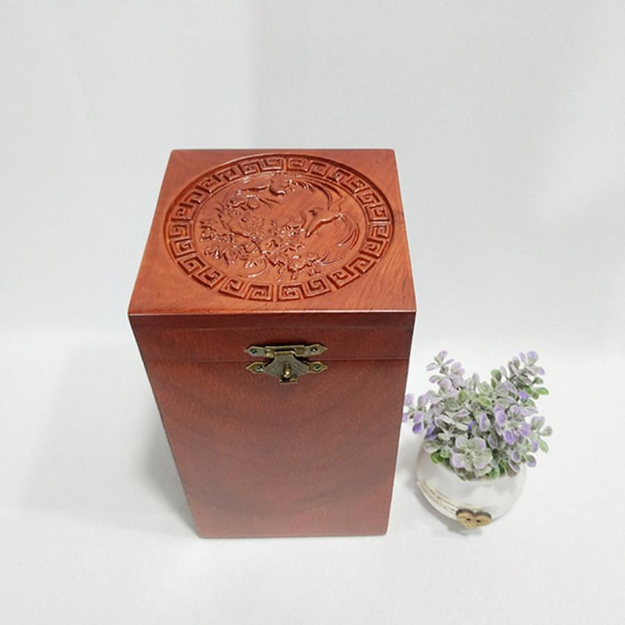 Hộp đựng trà gỗ hương cao cấp trạm khắc chim phượng hoàng tinh xảo