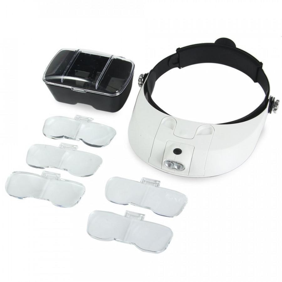 Kính lúp đội đầu kính phóng đại sửa chữa đa năng 5 kính có thể ghép đôi zoom 1.0x 1.5x 2.0x 2.5x 3.5x / 3.0x 4.0x 5.0x 5.5x 6.0x