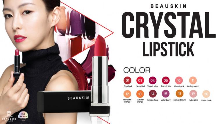 [Tặng kèm móc khoá] Son môi lâu trôi nhiều dưỡng Beauskin Crystal Lipstick 3.5g ( 1 Đỏ Tươi) 2