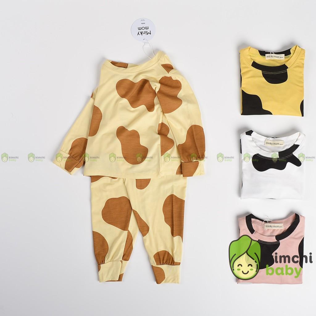 Đồ Bộ Bé Trai, Bé Gái Minky Mom Vải Thun Lạnh Họa Tiết Bò Sữa Hot Trend Ver 2, Bộ Dài Tay Thu Đông Cho Bé MKMTD2112