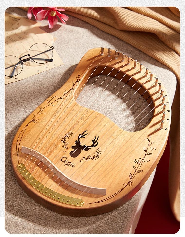 Đàn Lyre 16 dây đàn hạc Lyre Harp Cega-M16 Stings Đầy đủ phụ kiện LOẠI 16 DÂY tặng đàn kalimba 17 phím gỗ nguyên khối Mahagony PJLIM72