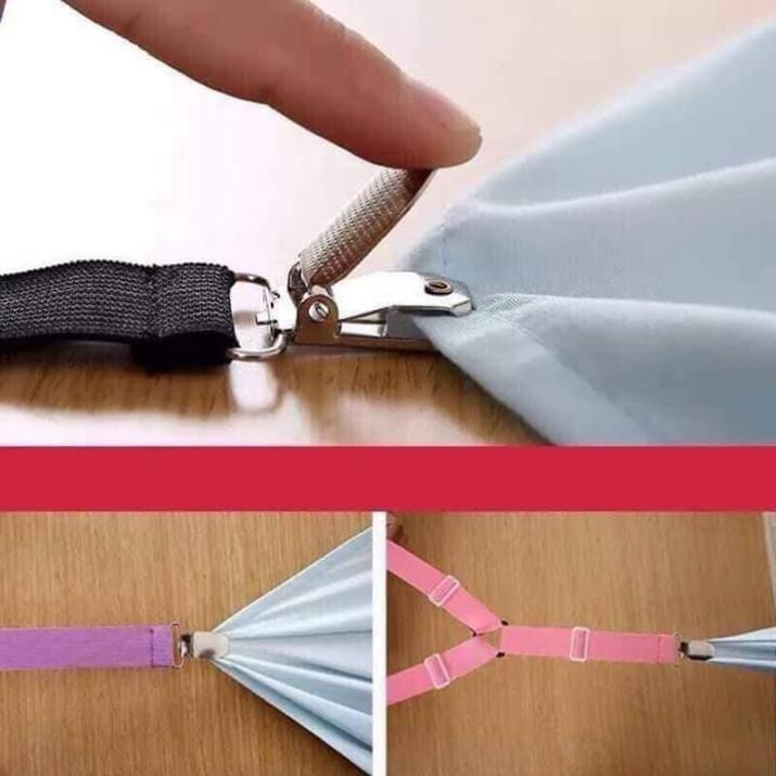 Bộ 4 dây nẹp cố định ga giường - Kẹp cố định drap giường (Gia dụng tiện ích 1102)