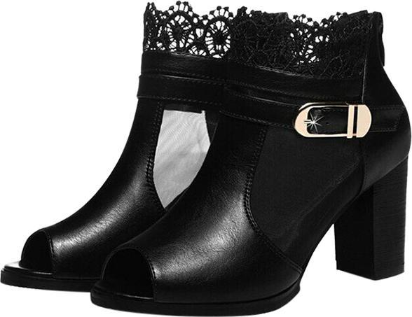 Giày Boot Phối Ren Hoa Nữ Tính - Đen Size 36