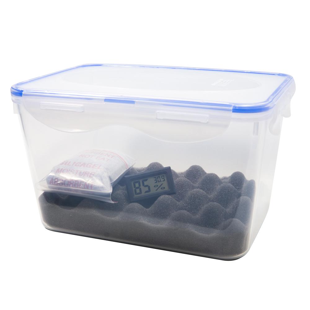 Combo hộp chống ẩm và ẩm kế, 100gram hạt hút ẩm xanh cho máy ảnh, máy quay phim - dung tích 5 lít (tặng mút xốp lót hộp)