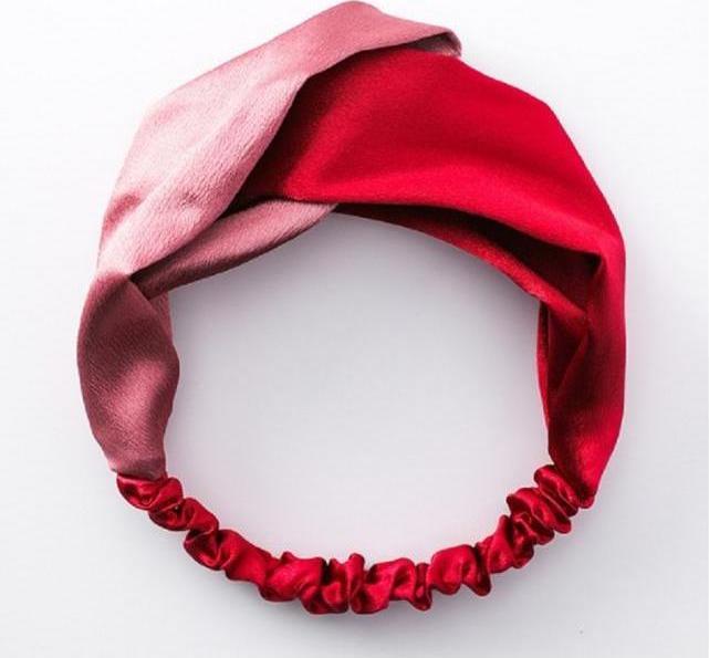 Băng đô Turban vải họa tiết 023  - 02 Đỏ Hồng