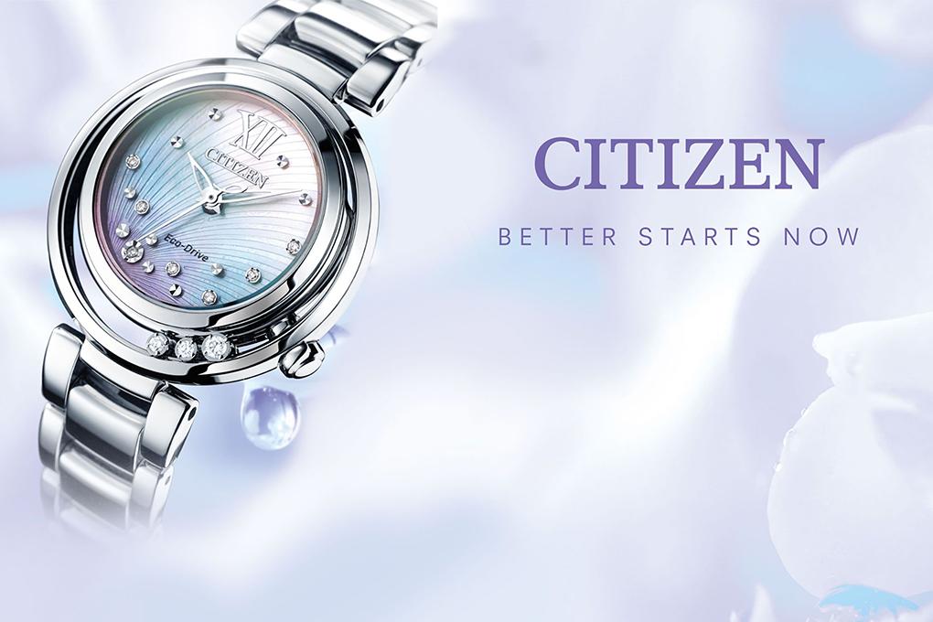 Đồng Hồ Nữ Citizen Đính Kim Cương Dây Thép Không Gỉ EM0327-50D - Mặt Xà Cừ (Sapphire)
