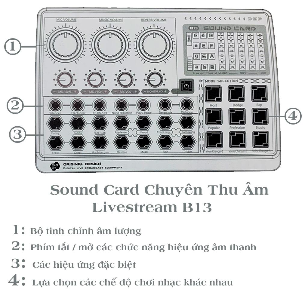 Mixer, Soundcard thu âm X6 mini (B13) - tích hợp auto tune, bluetooth - Karaoke, thu âm, livestream chuyên nghiệp