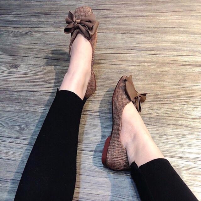 Giày Bệt Nữ Vải Dạ Đính Nơ Lụa Êm Chân
