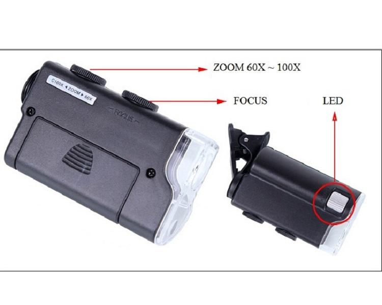Kính lúp kẹp điện thoại ( phóng đại 60 - 100 lần )