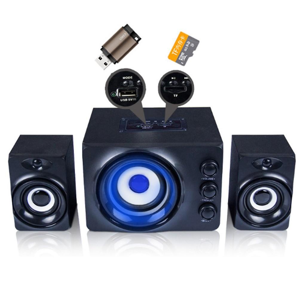 Hàng Chính Hãng - Loa Máy Vi Tính SADA D-206 Âm Thanh Trầm Hỗ Trợ Bluetooth, USB, Thẻ nhớ, AUX