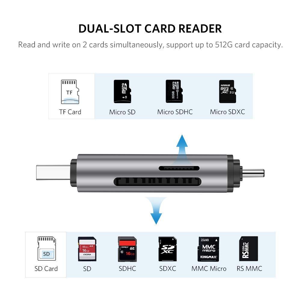 Đầu đọc thẻ nhớ SD, TF chân Type C, USB 3.0 chính hãng Ugreen 50706