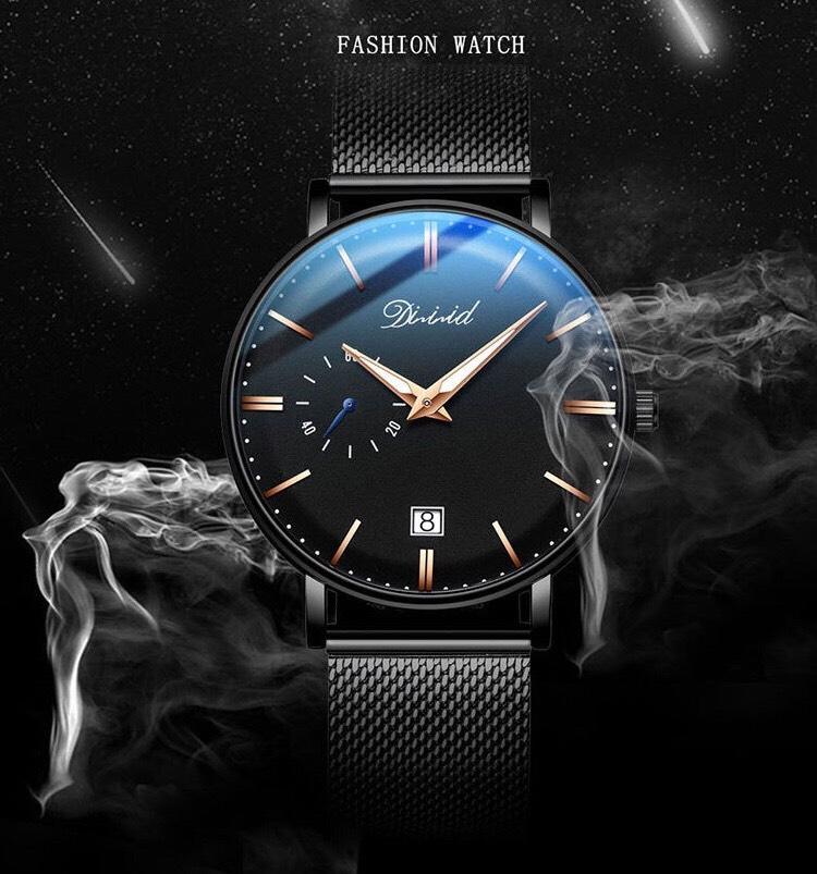 Đồng hồ nam cao cấp DIZIZID Dây Titanium Chạy Full 3 Kim Và Lịch Ngày - High Fashion Design DIZ3KD9