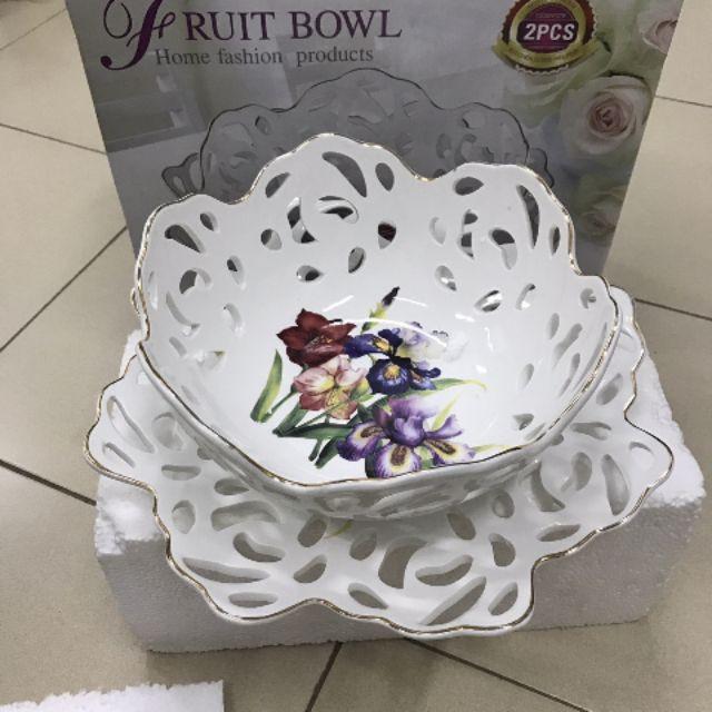 Bát đĩa sứ đựng hoa quả bánh kẹo hàng cao cấp ( có bán rời)
