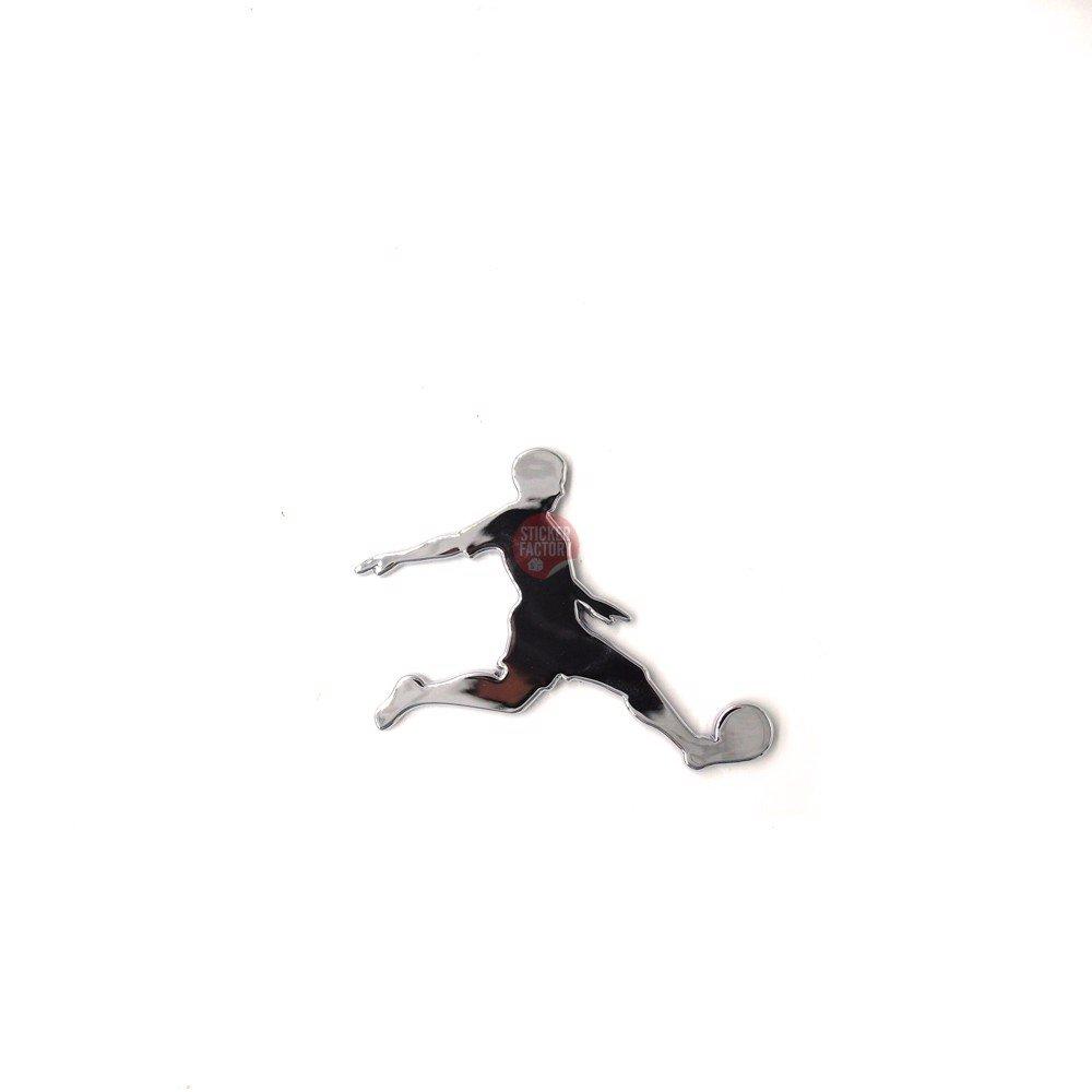 Football logo bạc - Sticker hình dán metal kim loại 3D