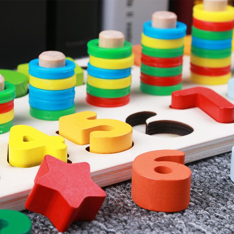 Bảng gỗ cho bé, bộ học đếm số và xếp hình khối kèm cột tính thả vòng tròn  bậc thang giúp phát triển trí tuệ