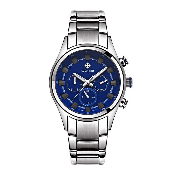 Đồng hồ nam Wwoor 8015 dây thép cao cấp không gỉ 1
