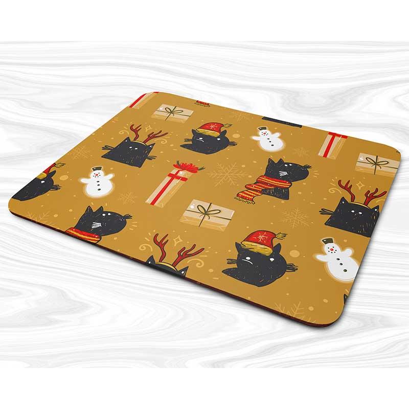 Miếng lót chuột mẫu Giáng sinh mèo đen, người tuyết