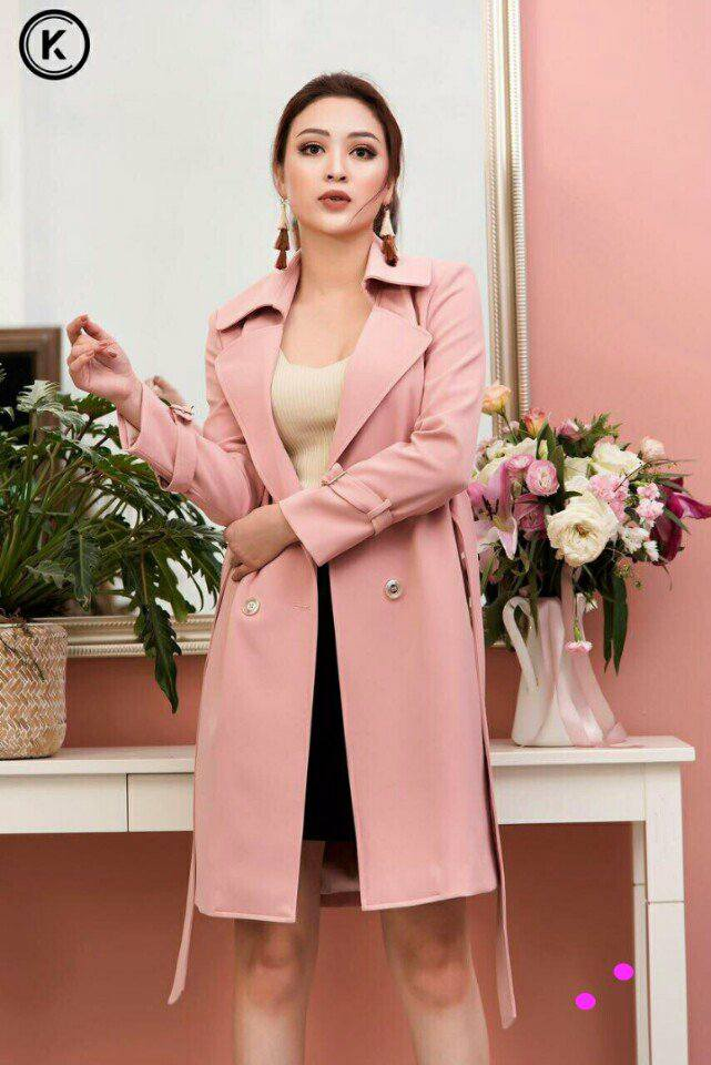 Áo khoác hồng form dài cổ vest siêu thời trang