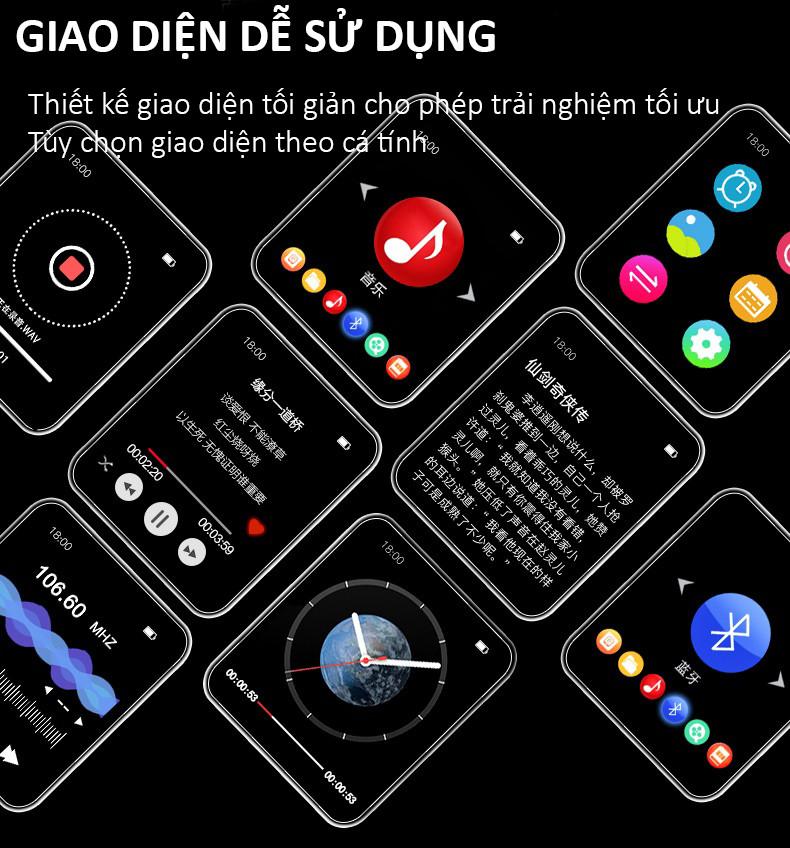 Máy Nghe Nhạc Smart Watch MP3 Màn Hình Cảm Ứng Bluetooth Ruizu M8 Bộ Nhớ Trong 8GB Cao Cấp AZONE - Hàng Chính Hãng