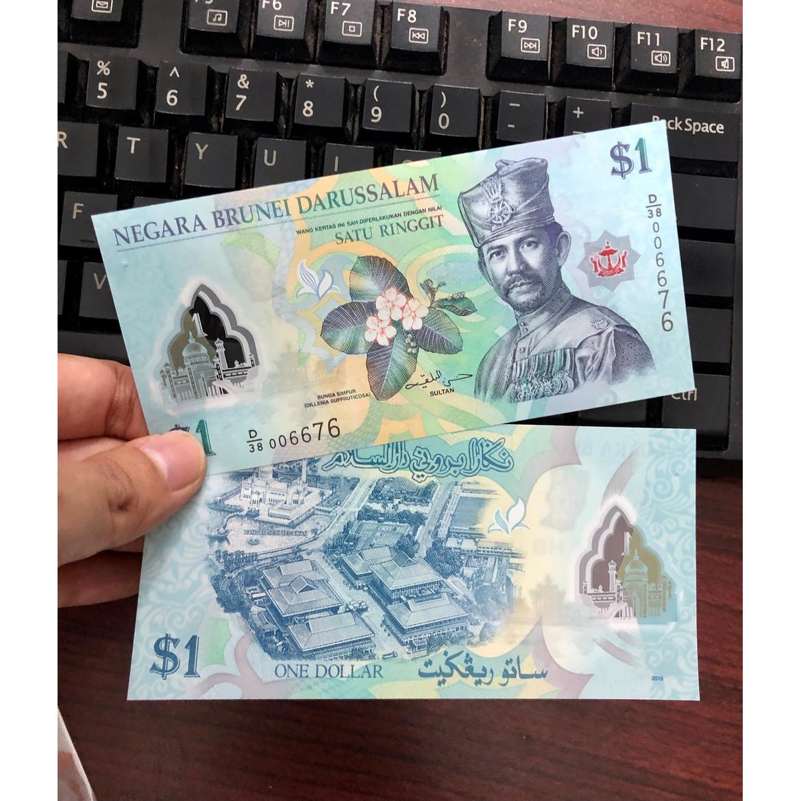 Tờ tiền Brunei 1 Ringgit bằng polyme tuyệt đẹp , sưu tầm tiền xưa