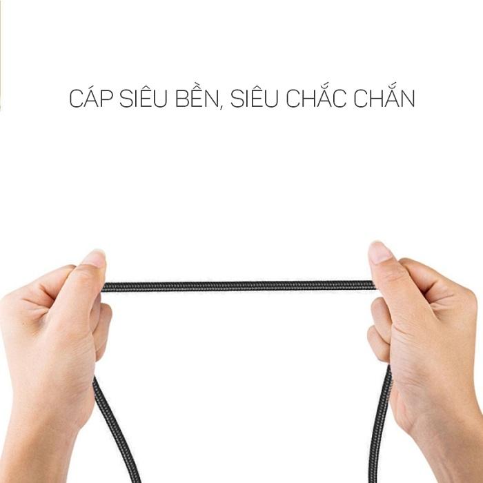 Cáp dù sạc nhanh Ossan Micro-USB dài 30 SUMO-C1M30 - Đen - Hàng chính hãng
