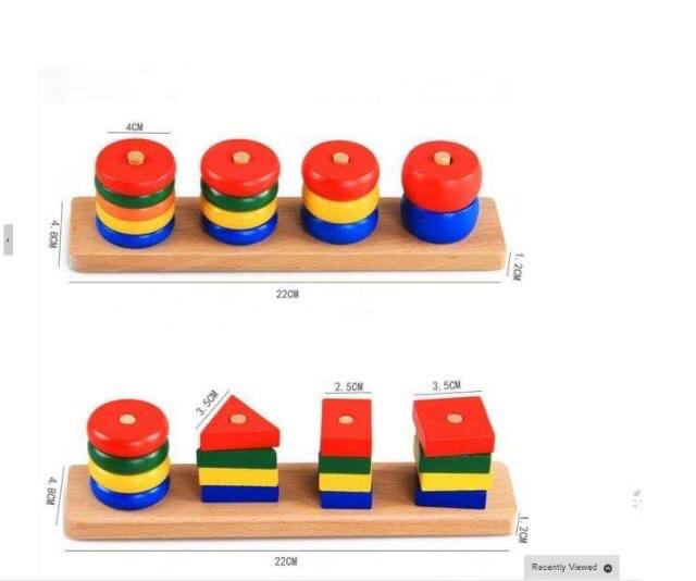 Bộ Đồ Chơi Giáo Cụ Montessori 8 Món Bằng Gỗ Cao Cấp Cho Bé