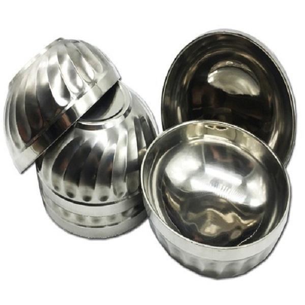 Bộ 10 bát INOX 2 lớp cách nhiệt chống nóng mẫu xoắn cỡ 14cm
