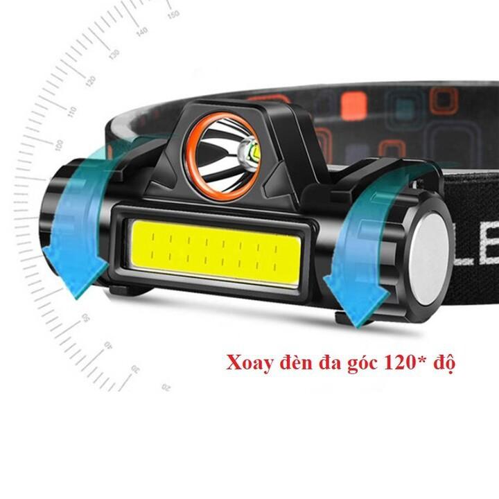 Đèn Pin Sạc Đội Đầu Coba 2in1 Cree XPE Q5 Kết Hợp Led COB Chống Nước Đi Mưa IP68