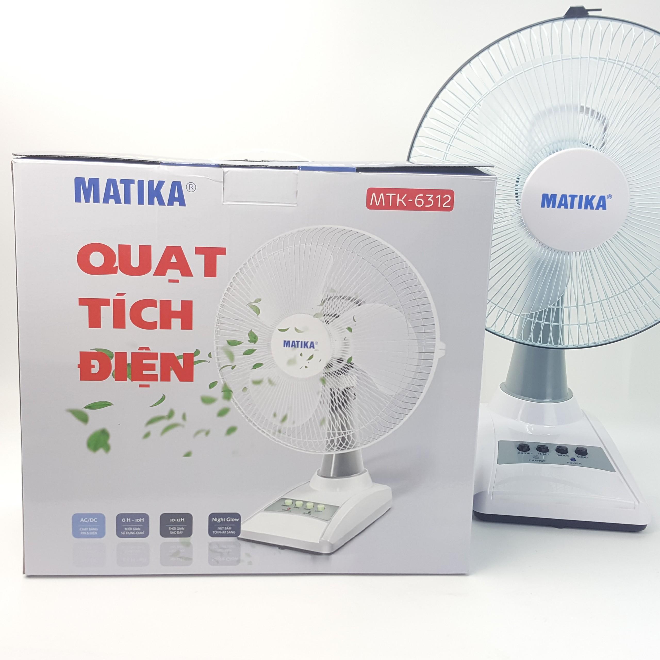 Quạt tích điện Matika MTK- 6312 -  Hàng Chính Hãng