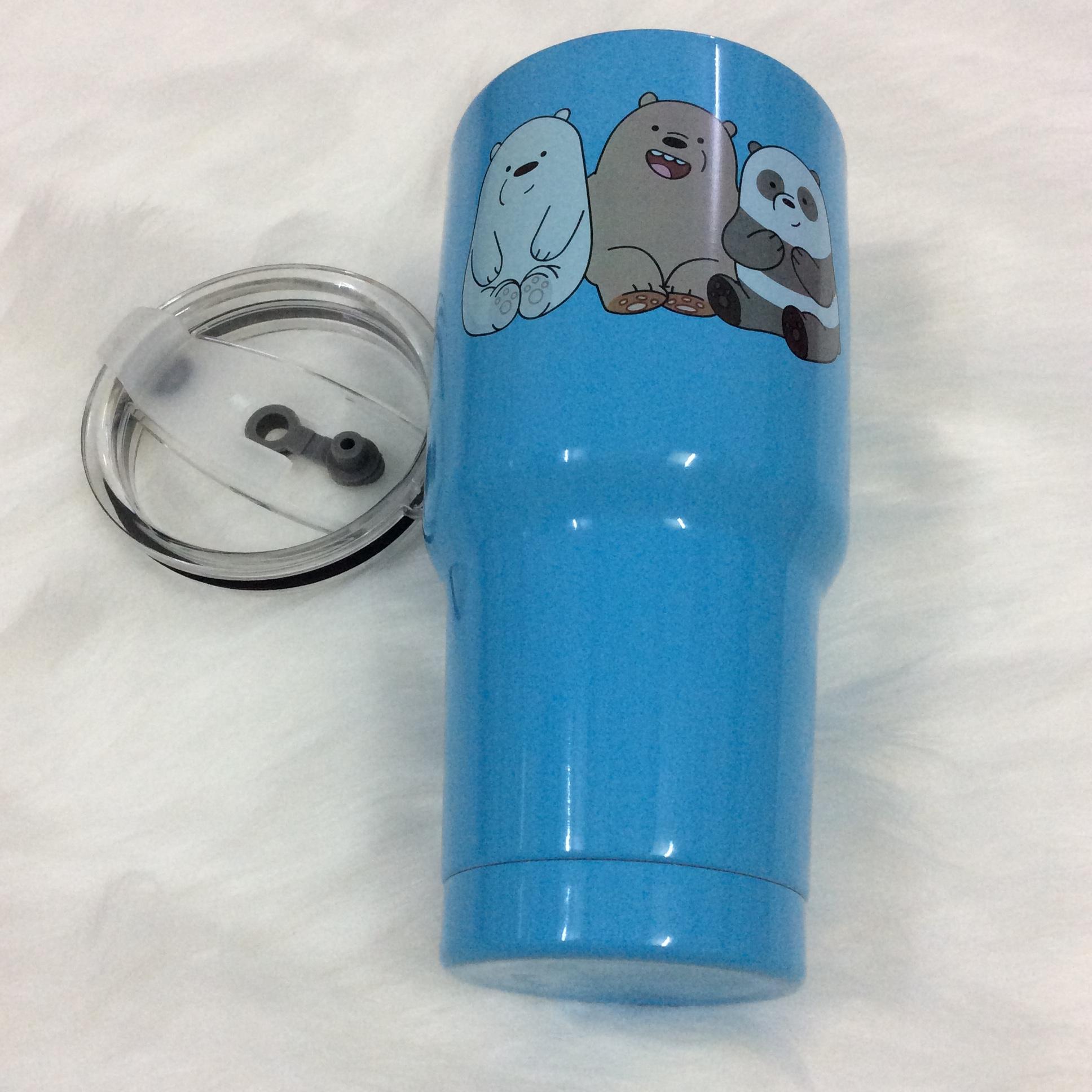 Ly giữ nhiệt Thái Lan 900 ml _ tặng 2 ống hút inox + 1 túi xách + 1 cọ rửa ống hút _ gấu xanh