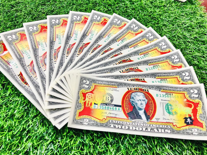 Seri LỘC PHÁT 68 số đẹp - Tờ 2 USD Con Trâu Vàng 2021 may mắn lì xì tết , chính hãng The Merrick Mint