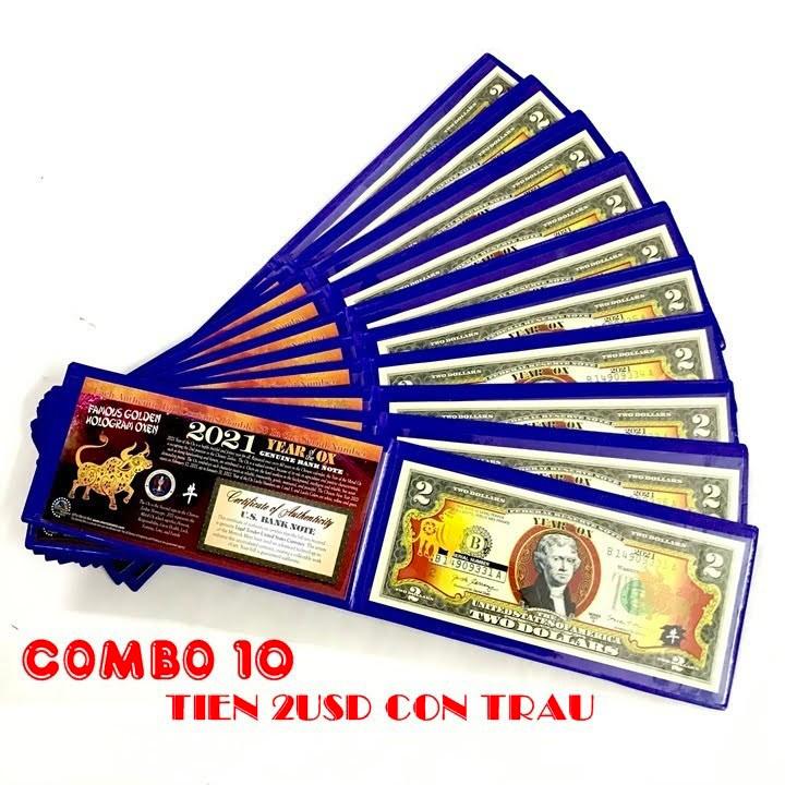 COMBO 10 BỘ Tờ 2 USD Hình Trâu Vàng may mắn Tết 2021 làm tiền lì xì độc lạ, may mắn, ý nghĩa The Merrick Mint