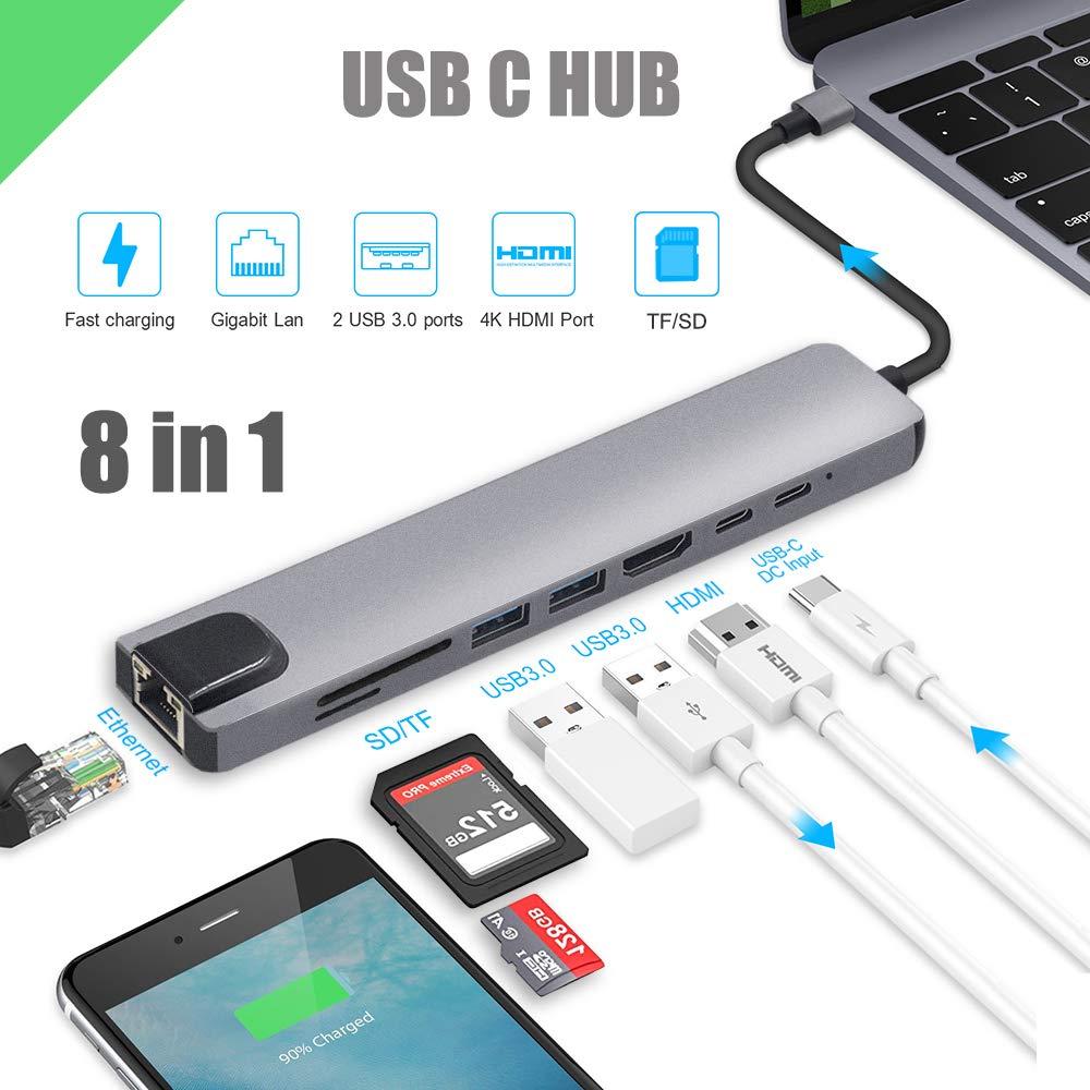 Hub USB Type-c cho Samsung Dex, Macbook - HDMI, Ethernet, USB3.0, Type-c - 8in1