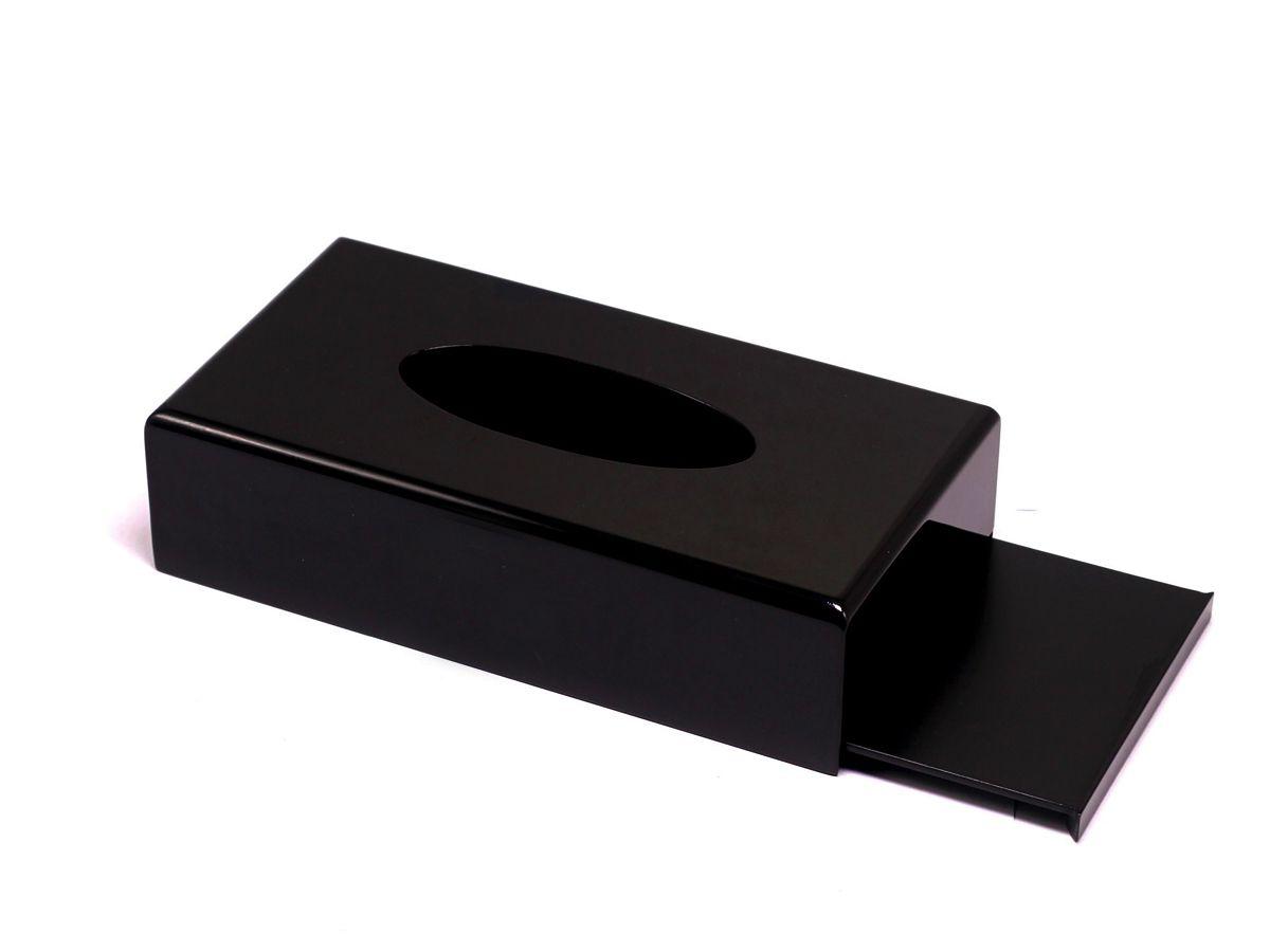 Hộp khăn giấy sơn mài chữ nhật màu đen bóng cao cấp MNV-HKGTN01