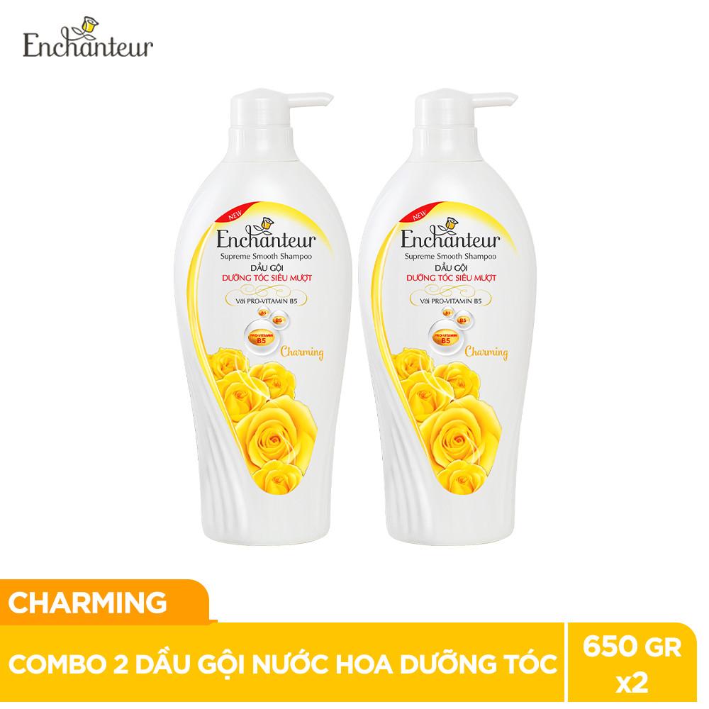 Combo 2 Dầu gội nước hoa Enchanteur Sensation/Charming dưỡng tóc siêu mượt 650gr/Chai