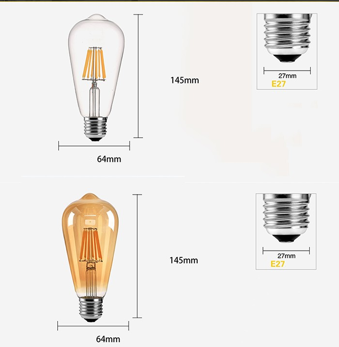 Bóng đèn Led ST64 6W đui E27.