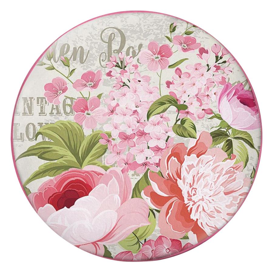 Gối Ôm Tròn Hoa Trắng Hồng Vintage - GOHO039