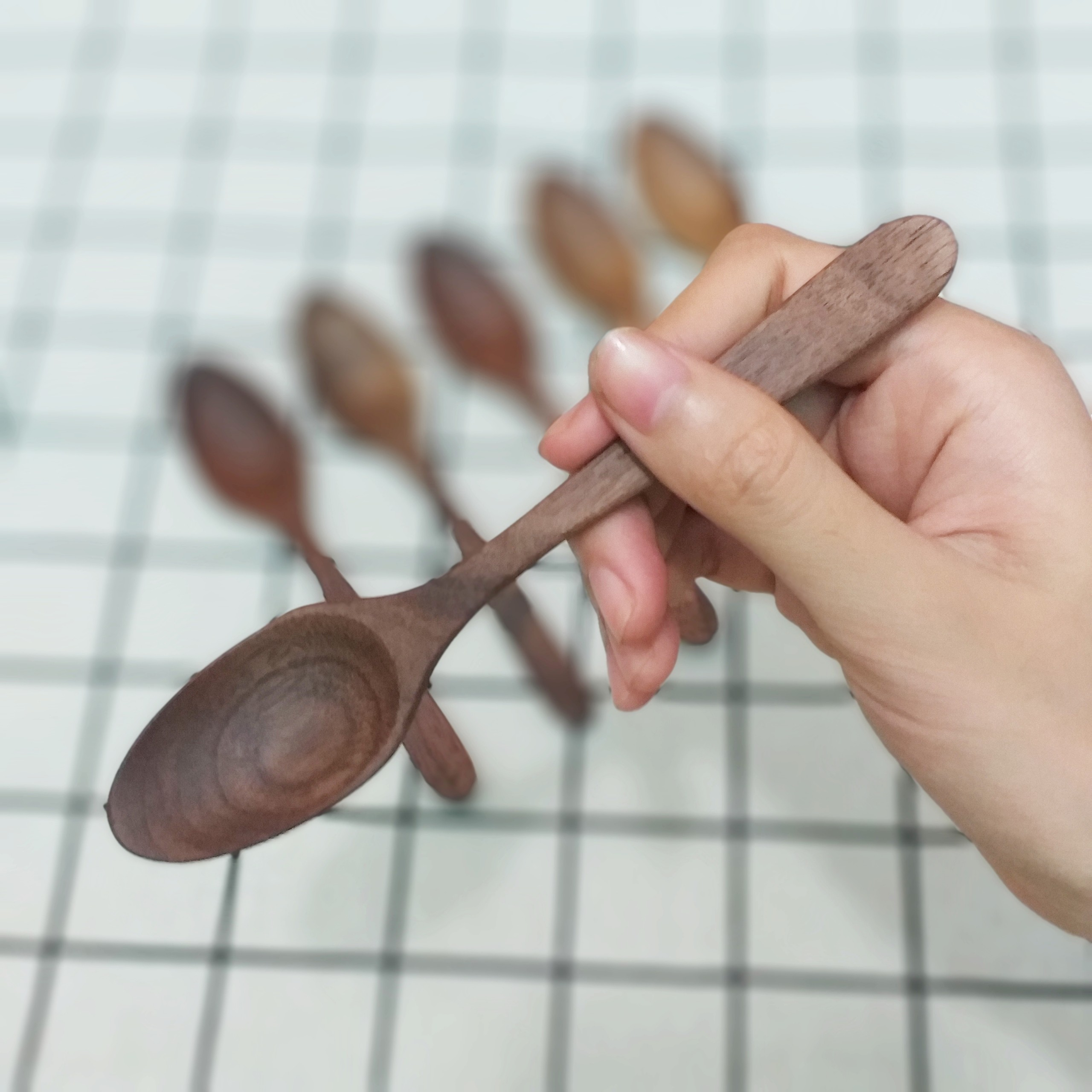 Bộ 6 thìa , muỗng gỗ Óc chó nhỏ (14,5cmx3cm) - Đồ Gỗ Bàn Ăn Tiện Dụng (OC3)