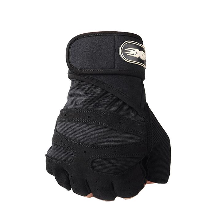 Bộ 2 găng tay tập gym có dây cuốn bảo vệ cổ tay kết hợp (size L)