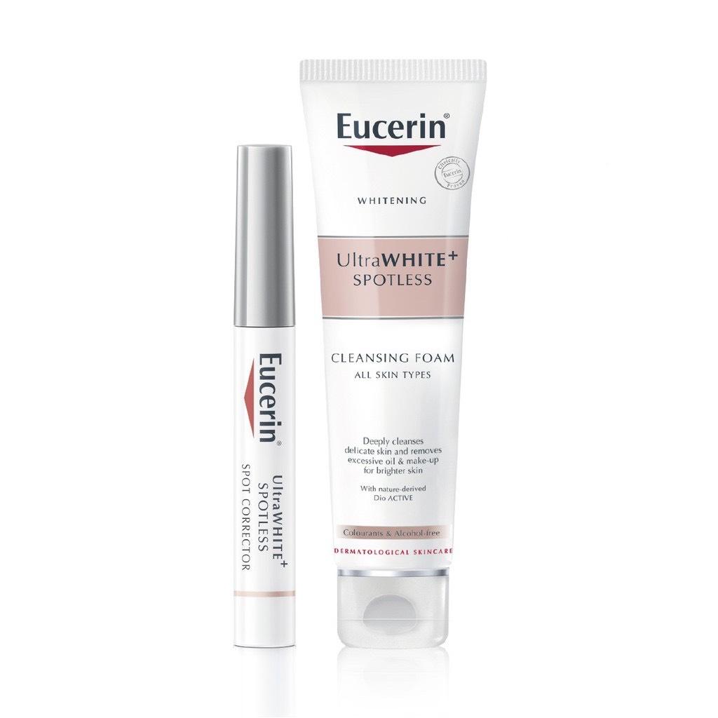 Combo Tinh chất giảm thâm nám Eucerin Ultra White+ Spotless  Spot Corrector 5ml Và Eucerin Sữa Rửa Mặt Làm Trắng GiảmThâm Nám Ultra White+ Spotless Cleansing Foam 150g