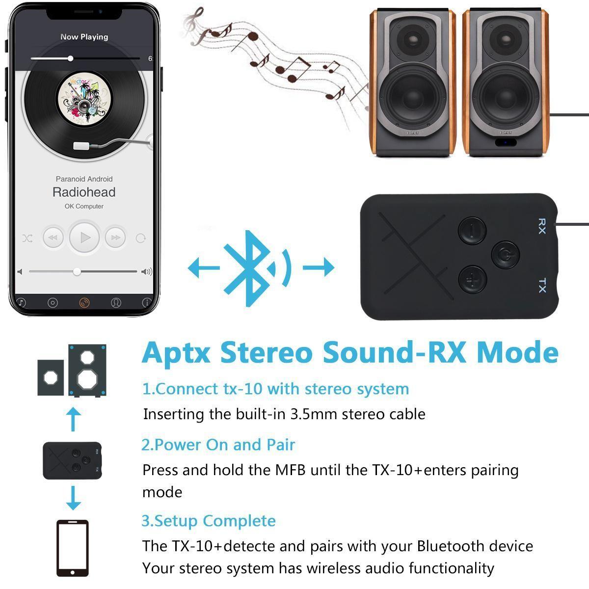 Bộ Thu Phát Âm Thanh Bluetooth 4.2 Bluetooth Receiver and Bluetooth Transmiter - Bluetooth TX10 - Hàng Nhập Khẩu