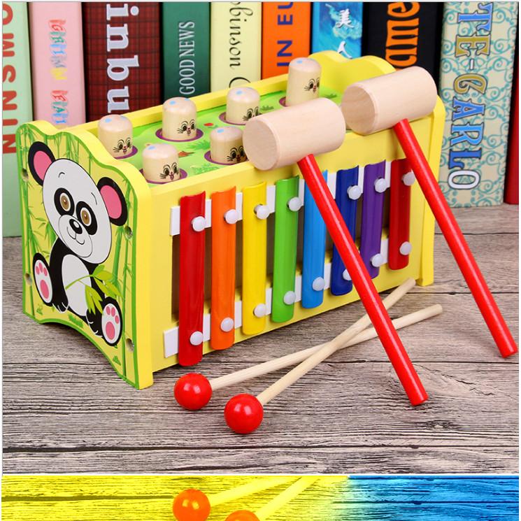 Đập chuột đánh đàn gấu trúc đồ chơi gỗ âm thanh cho bé