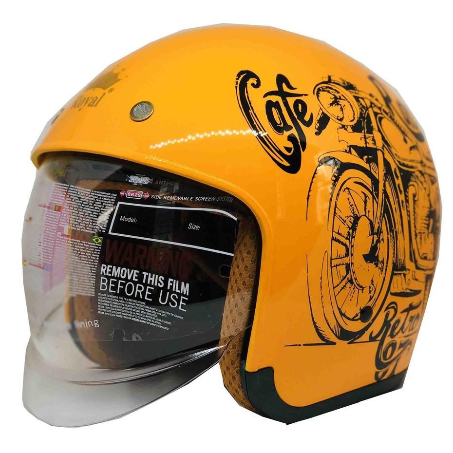 Nón bảo hiểm 3/4 Royal M139 có kính âm V7 bóng