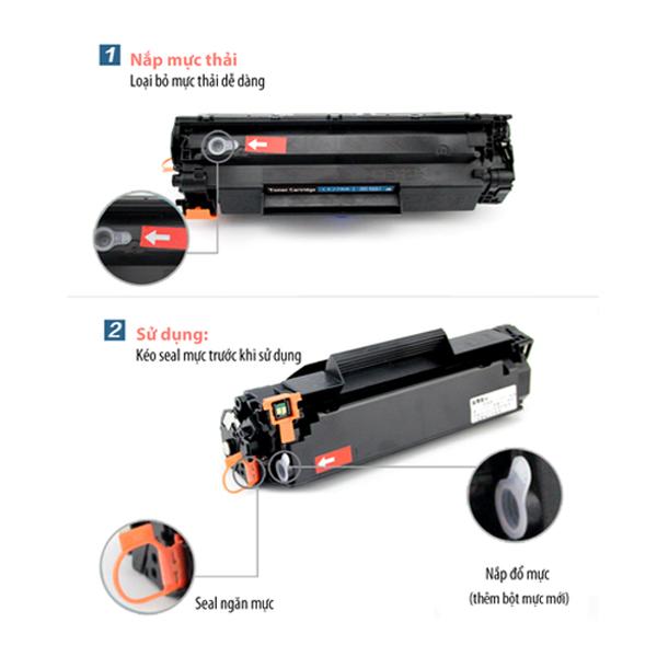 Hộp mực 12A cho Canon LBP 2900 3000, HP 1010 1015, Có lỗ đổ mực, mực thải